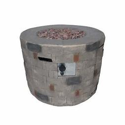 Dino Outdoor Lightweight Concrete Circular Fire Pit by brown