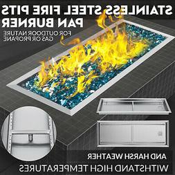Drop-In Fire Pit Pan w/ Burner 36x12 inch Stainless Outdoor