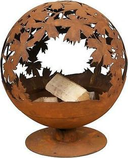 Esschert Design Garden Fire Pit Bowl Leaf Leaves Globe laser