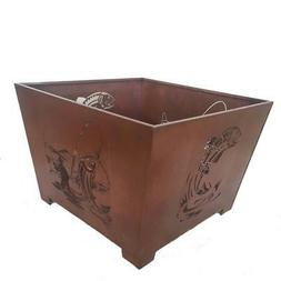 Fire Pit 24 in. x 16 in. Square Steel Wood Burning in Rust w