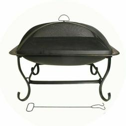 Fire Pit 29 in. Square Steel Wood Fuel in Black with Sparks