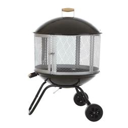 Fire Pit Black Steel Wood-Burning Powder Coated Steel Home D