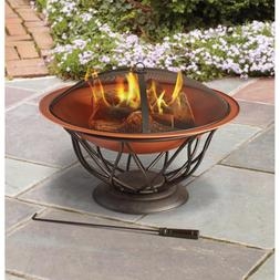 Fire Pit Bowl Round 30 in. Copper Finish Steel Outdoor Patio