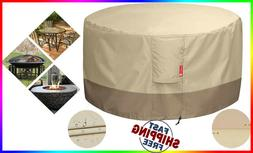 Fire Pit Cover Round Table 600D Heavy Duty Patio Outdoor Wat