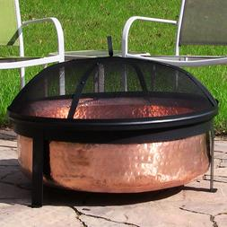 Fire Pit Large Copper Hammered Bowl Heavy Duty 1 Year Warran