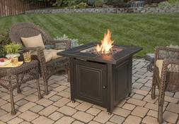 Fire Pit Out Door Propane BBQ Party Bronze Black Table Squar