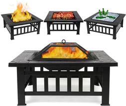 Fire Pit Table Outdoor with BBQ Grill Shelf, Multifunctional