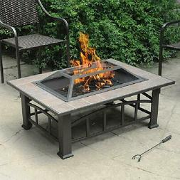 Round Patio Fire Pit Outdoor Home Garden Backyard Covered Bo