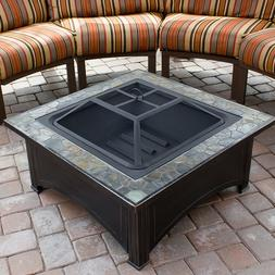 Fire Pit Table Wood Burning Fireplace Steel Frame Ceramic Ti