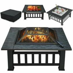 Fire Pit With Mesh Lid Cover