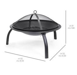 Folding Steel Fire Pit, 22inches - Portable Outdoor Camping