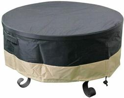 36 Inch Full Coverage Round Fire Pit Cover, Black PVC