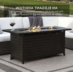 Gas Fire Pit Table W/Storage Cover Glass Beads Outdoor Large