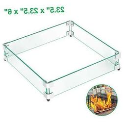 """GASPRO 23.5"""" Square Fire Pit Glass Wind Guard, Clear Tempere"""