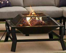 Greyson Square Wood Burning Fire Pit with Mesh Screen Poker