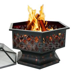 Hex Shaped Fire Pit Fireplace Firepit Bronze Finish Outdoor