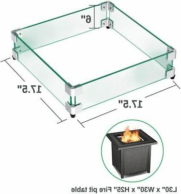 GASPRO Square Fire Pit Clear Tempered Guard 5