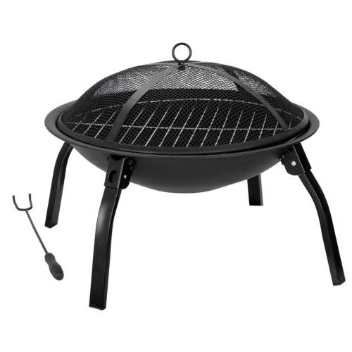 """22"""" Folding Fire Pit Wood Outdoor w/Carry"""