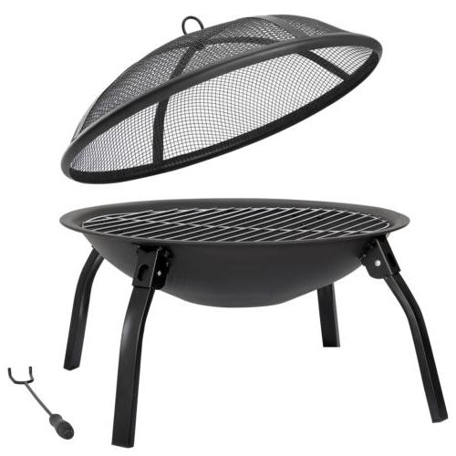"""22"""" Pit Wood Portable Outdoor Camping BBQ w/Carry Bag"""