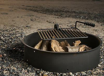 """24"""" Steel Fire Ring Cooking Grate Campfire Pit Camping Park Grill"""