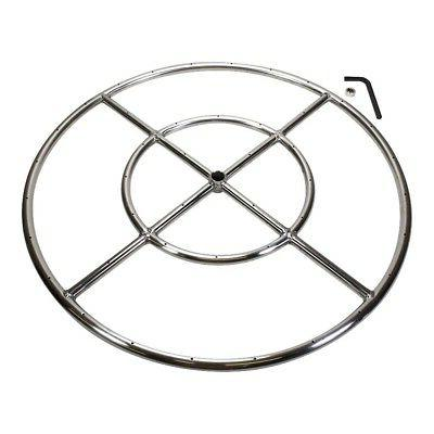 """Celestial Fire Glass 24"""" Round Pit Stainless Steel, Double"""