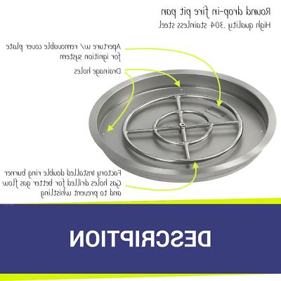 """25"""" Stainless Steel Round Drop-In & Burner by American Fireglass"""