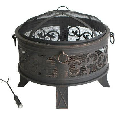 Round Metal Outdoor Fire Pit Fireplace Mesh Cover Backyard P