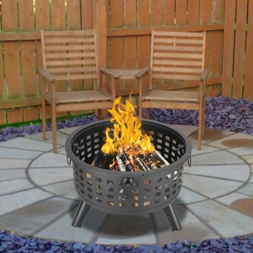 "26"" FirePit Fire Bowl Ceramic Wood Grill"