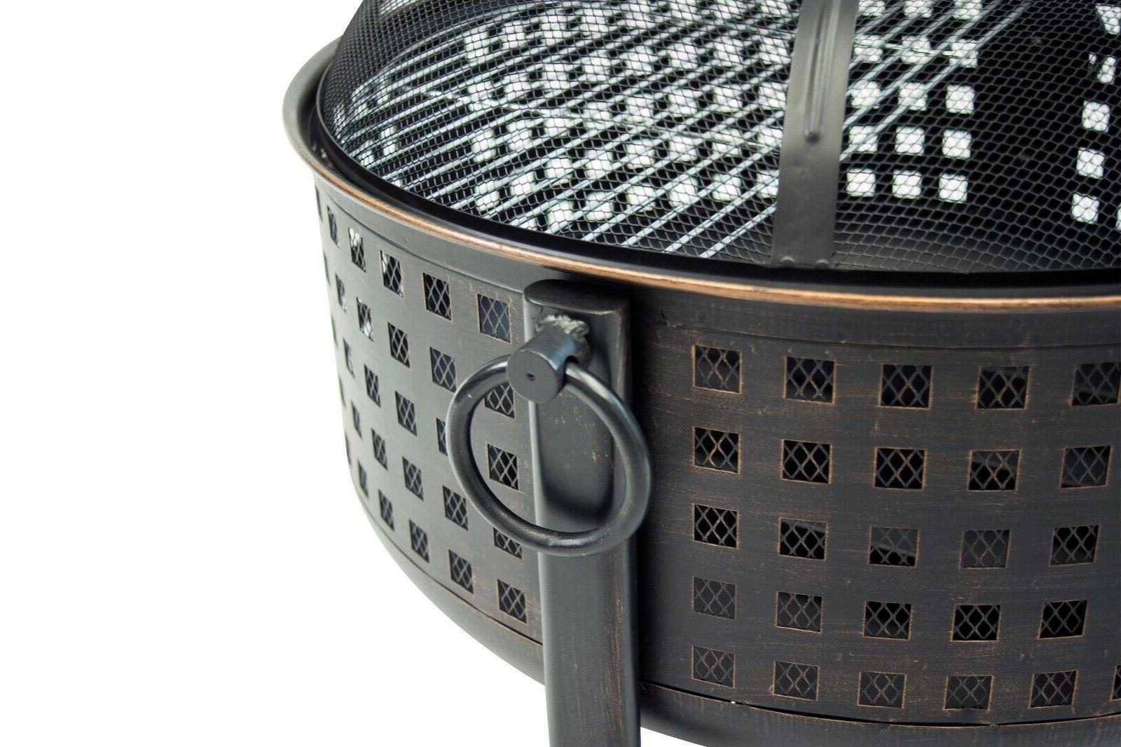 """30"""" Outdoor Fire Pit Deep Round Wood Grill Cooking"""
