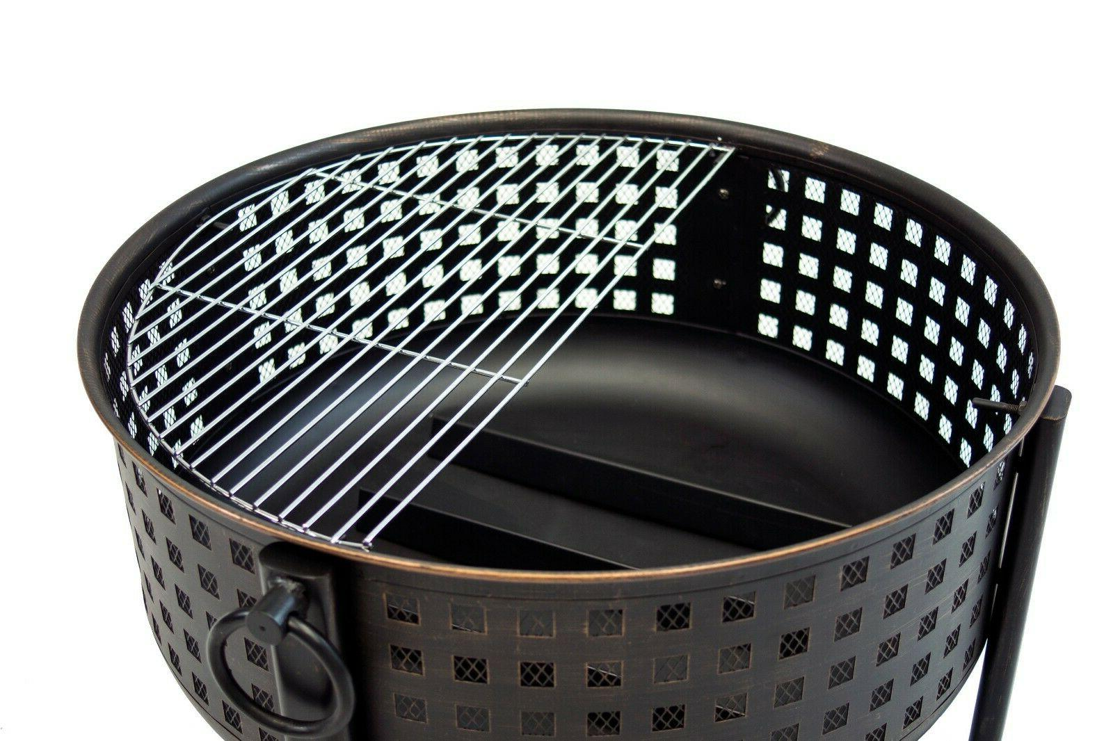 """30"""" Outdoor Deep Large Round Wood Coal Grill"""