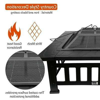 "32"" Fire Pit BBQ Square Table Backyard Garden Stove Fireplace"
