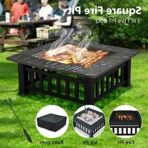 """32"""" Metal Square Fire Pit Outdoor Brazier as Backyard Patio"""