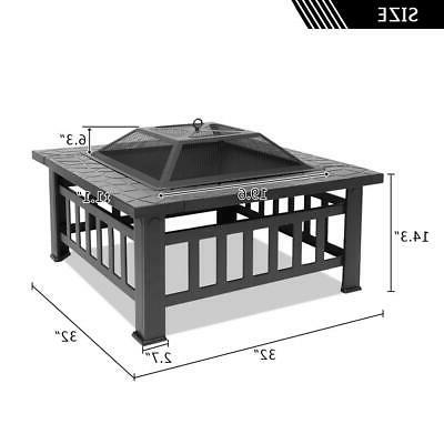 "32"" Fire Brazier Square Table Burning Outdoor"
