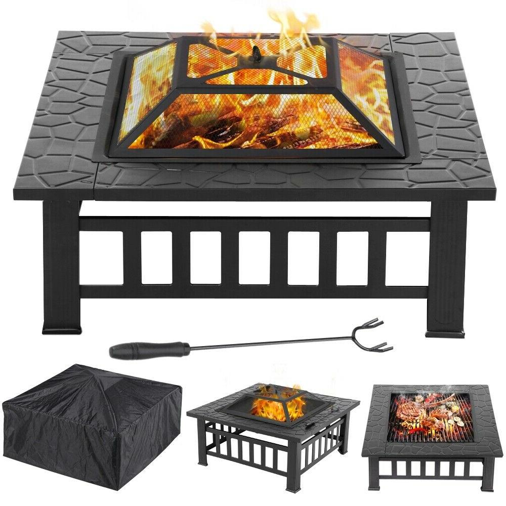 32'' Outdoor Square Pit Metal, Grill Grate
