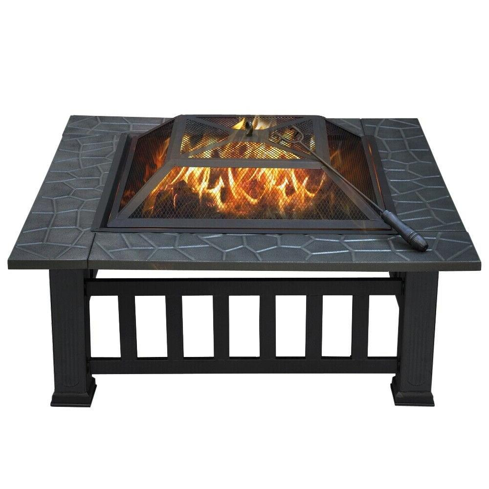 32 outdoor square fire pit metal barbecue