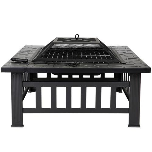 "32"" Fire Pit Outdoor Patio Deck Fireplace w/Cover"