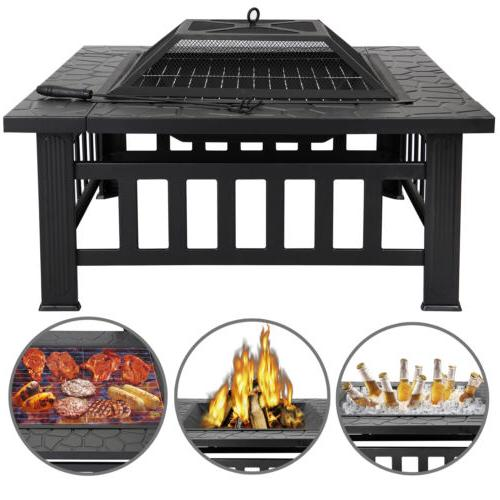 """Outdoor 32"""" Backyard Patio Square Stove Fire Pit Mesh Cover"""