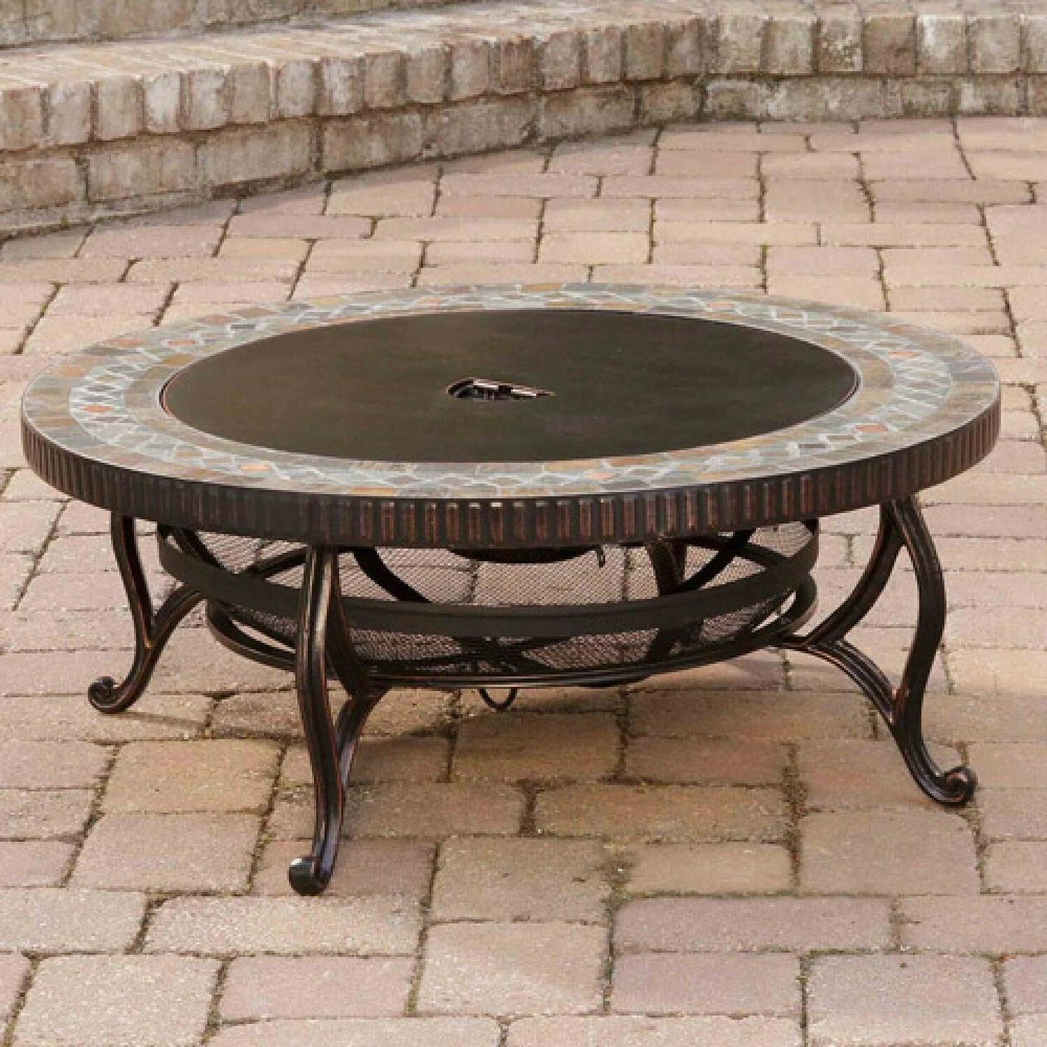 Pleasant Hearth Natural Slate Outdoor Rubbed Bronze Table