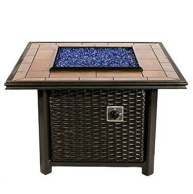39 inch square wicker fire pit table