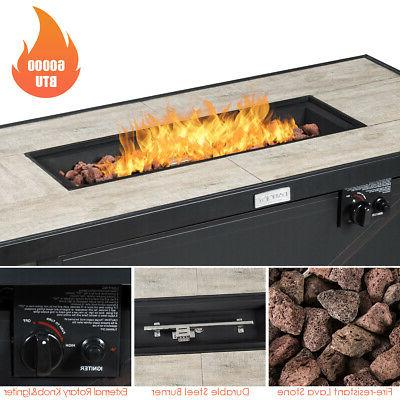 """42"""" Gas Fire Pit 60,000 Heater W/ Cover"""