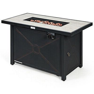 """42"""" Fire Pit 60,000 Btu Heater Table W/ Cover"""