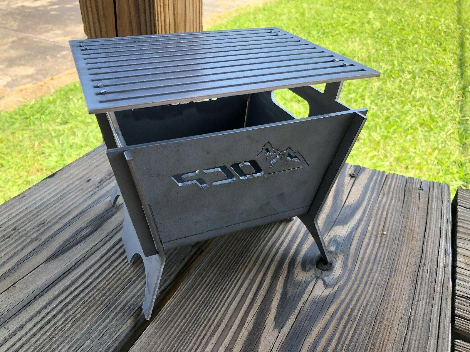 7 square portable camping fire pit modular
