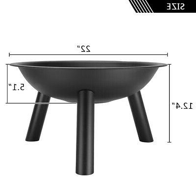 Black Fire Pit Steel Patio Garden Heater Table BBQ Camping
