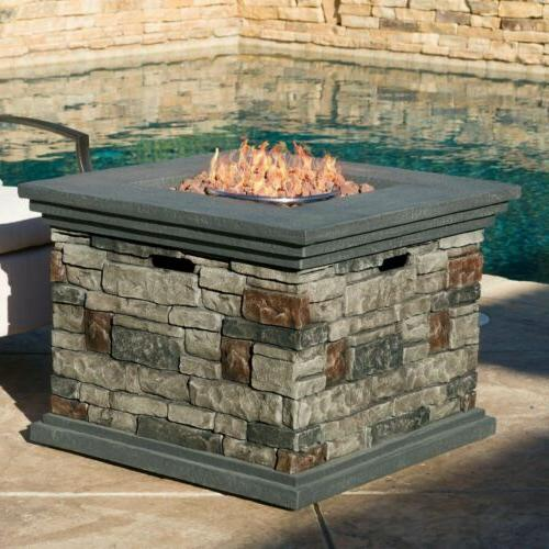 Crawford Outdoor Square Liquid Propane Fire Pit with Lava Ro