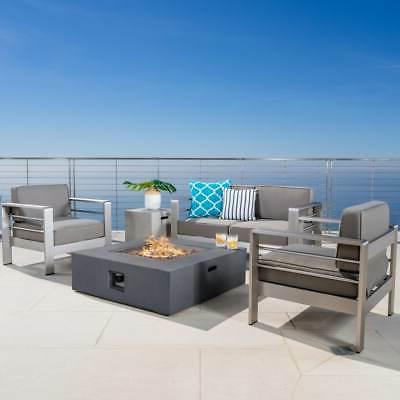 Cape Coral Outdoor 5-piece Chat Set with Fire Pit by
