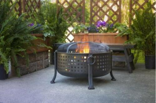 Extra Round Fire Ring Firepit Cooking Grill Bronze Pit