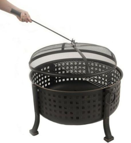 Extra Deep Ring Outdoor Firepit Grill Grid Bronze Steel Pit