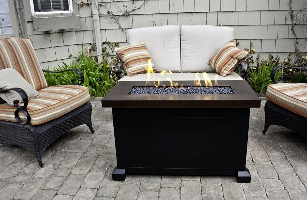 Fire Pit Table Top  With Lid Patio Propane Gas Rectangle Gla