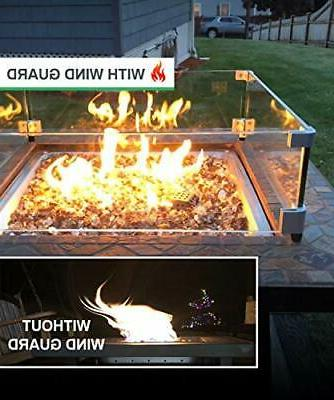 """GASPRO 23.5"""" Square Fire Pit Glass Clear Tempered Glass Wind Guard"""