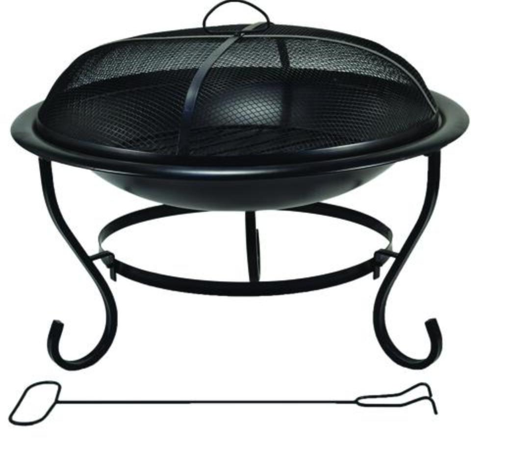 "Heavy Duty 23"" Black Round Bowl Fire Pit Steel Mesh Spark Sc"